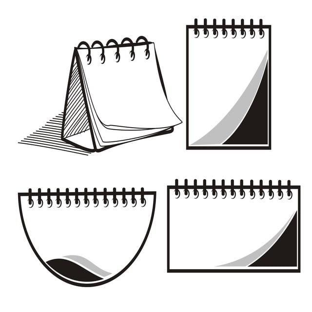 Set Meja Bentuk Kalendar Tangan Ditarik Sketsa Aksesori Seni Latar