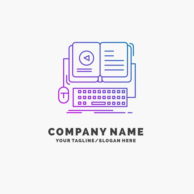Book Ebook Interactive Mobile Video Purple Business Logo Tem
