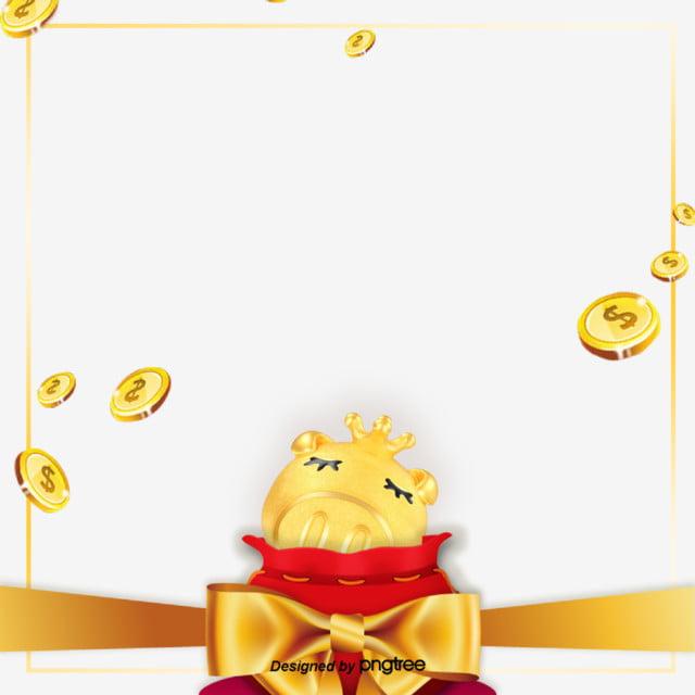 golden 2019 creative golden pig gold coin border frame silk ribbon new year