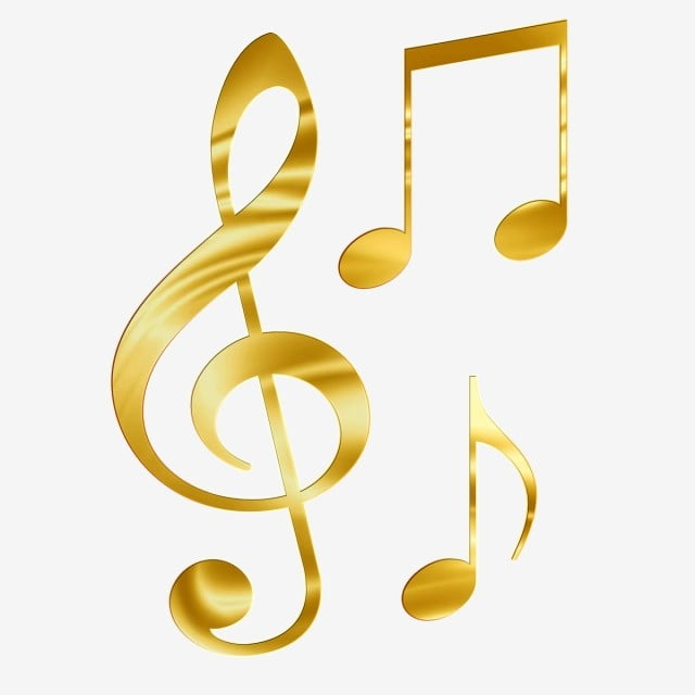 Music notes gold. Musical note sheet png