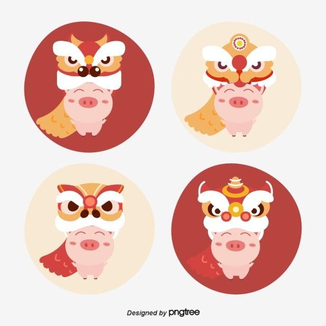 豚年可愛い新年の獅子イラスト 2019 手絵 イラスト画像素材の無料