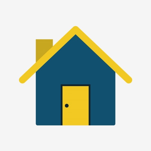 Image of a blue house with yellow roof and chimney from Home Icon.