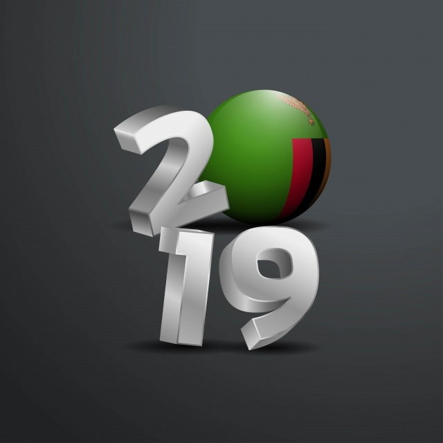 2019 Grey Typography With Zambia Flag Happy New Year