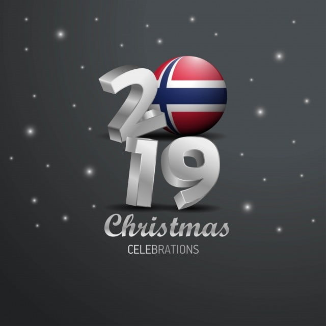 Merry Christmas In Norwegian.Norway Flag 2019 Merry Christmas Typography New Year