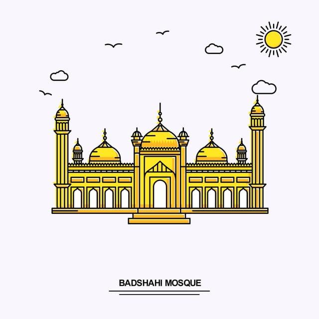 Badshahi Mosque Monument Poster Template World Travel Yellow