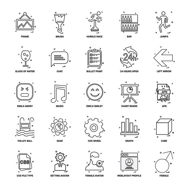 25 Business Concept Mix Line Icon Set, 24 Hours Open, Bullet