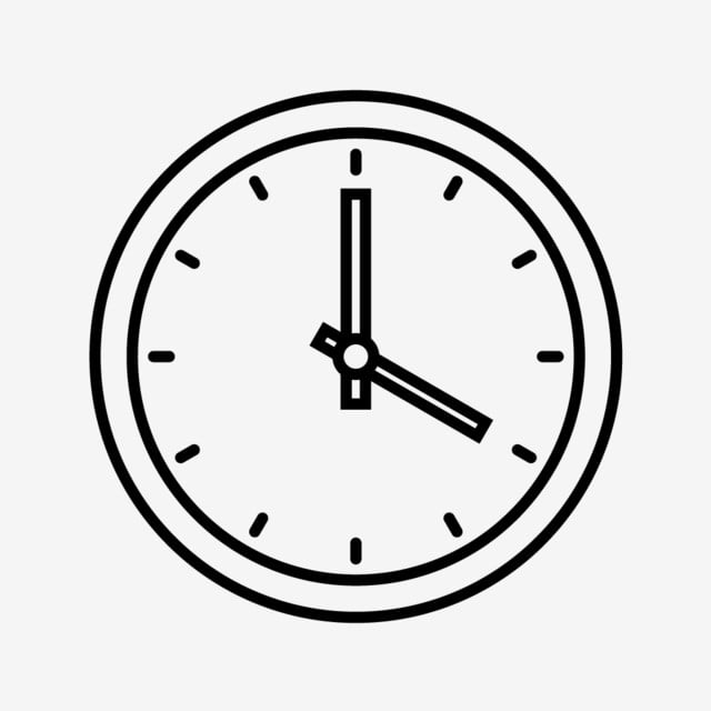 Clock Line Black Icon, Clock, Time, Timer PNG and Vector