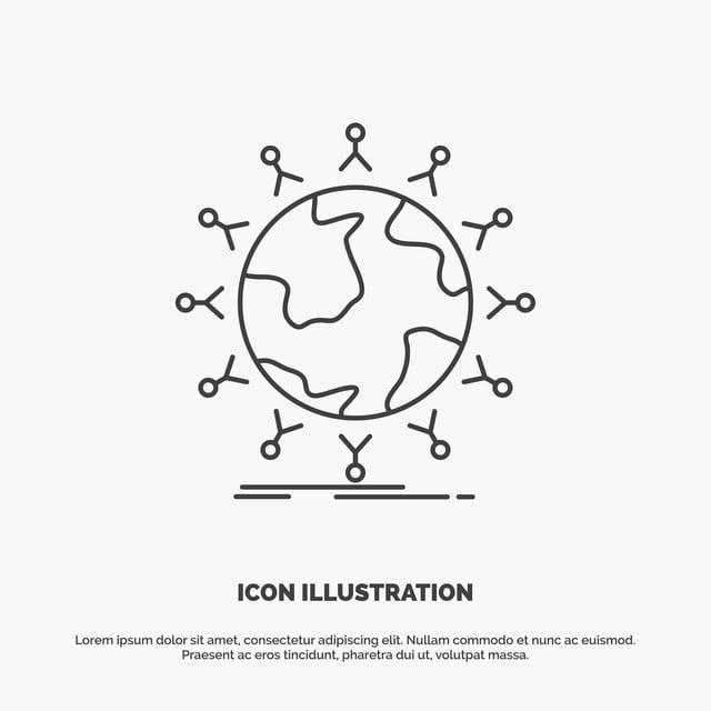 Global Student Network Globe Kids Icon Line Vector Gray Sym App