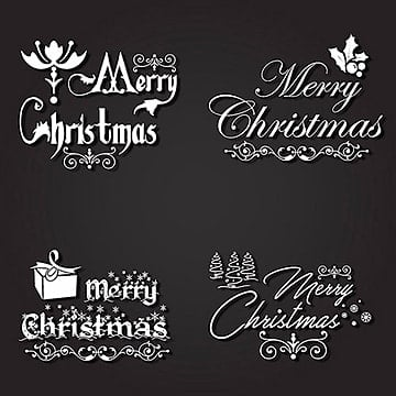 Christmas Typography logo designs, Black, White, Typography PNG and Vector