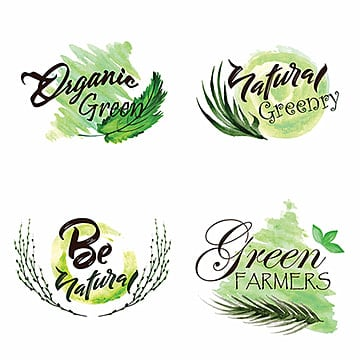 Watercolor Green Leaves Logo Collection, Organic, Greeny, Framers PNG and Vector