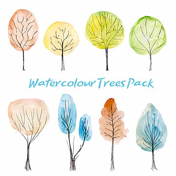 watercolor trees collection, Floral, Ornamnets, Decoration PNG and Vector