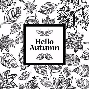 Black And White Line Art Autumn Backgrounds, Black, White, Autumn PNG and Vector