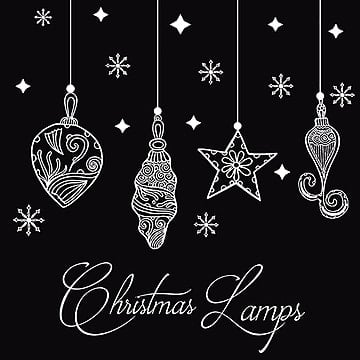 Hand Drawn Christmas Lamps Backgrounds, , Illustration, Merry PNG and Vector