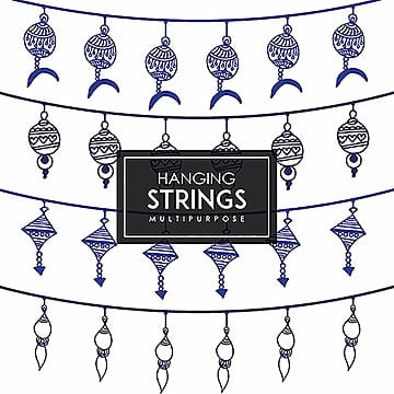 Hand Drawn Colorful Hanging Strings Designs, Flat, Party, Set PNG and Vector