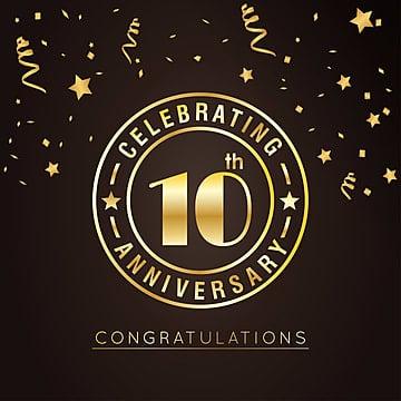 Décimo aniversário golden badge eps10 ilustração vetorial, 10, Idade, AniversárioPNG e Vector