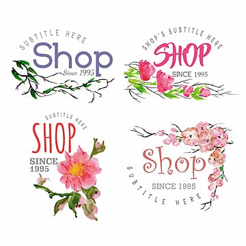 Watercolor Floral Logo Collection, Floral, Ornamnets, Boho PNG and Vector