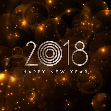 Feliz Año Nuevo 2018 real de fondo con estrellas de oro, Nuevo, Año, Background PNG y Vector