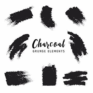 charcoal grunge elements, Set, Line, Grunge PNG and Vector