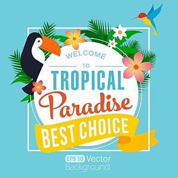 Tropical Paradise Summer Poster, Summer, Retro, Poster PNG and Vector