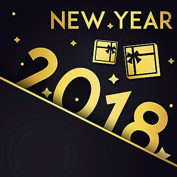 Golden Gifts Vector New Year 2018 Background, New, Year, 2018 PNG and Vector