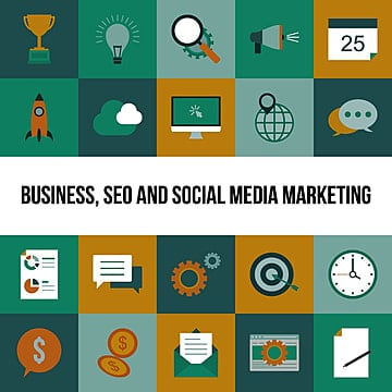 Business, SEO and Social media marketing icons set, Development, Process, Seo PNG and Vector