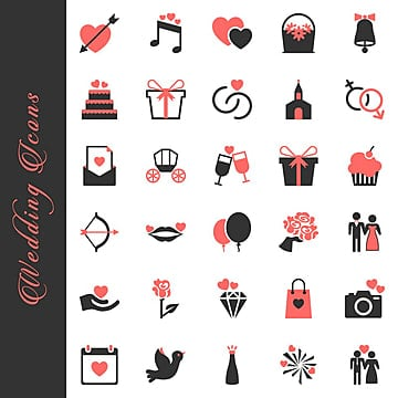 Wedding and Love Icons Set, Cake, Celebration, Gift PNG et vecteur