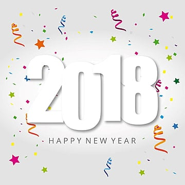 2018 card with star and white background, 2018, Happy, Background PNG and Vector