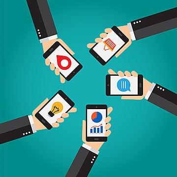 Smartphone moviles, conexiones y aplicaciones, Mano, Diseño, Información PNG y Vector