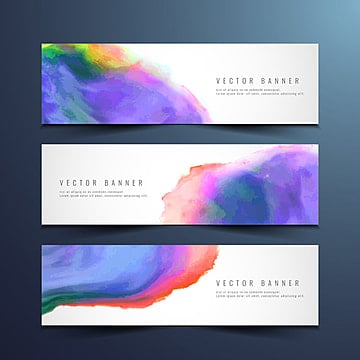 Abstract colorful watercolor banners set illustration image