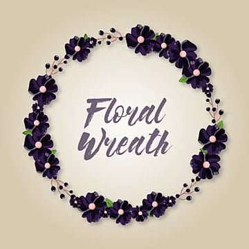 Floral Wreath with purple flower, Floral, Flower, Wreath PNG and Vector