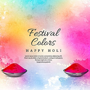 "Watercolor imitation multicolored background with ""Happy Holi"" festival design, Abstract, Background, Watercolor PNG and Vector"