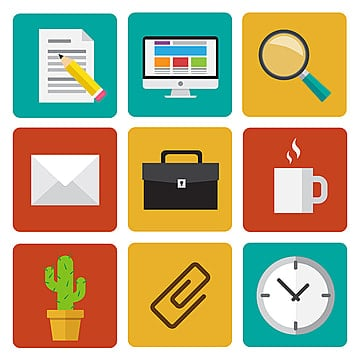 Office work icons set. Flat design illustrations., Abstract, Buttons, Application PNG and Vector