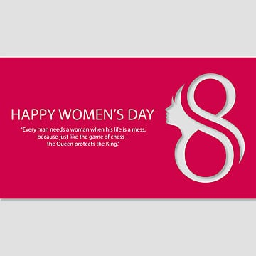 Women day typographic card with red background, 8, March, Womens PNG and Vector