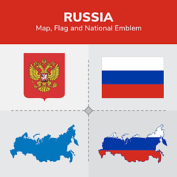 Russia Map  Flag and National Emblem, Continents, Countries, Map PNG and Vector