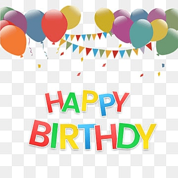 happy birthday text effect with balloon png and psd, Colorful, Silk, Ribbon PNG and PSD