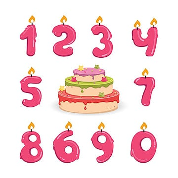Birthday Candle And Cake Flat Cute PNG Vector