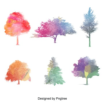 tree with watercolor, Tree, Nature, Green PNG and PSD