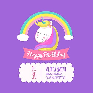 birthday card with unicorn and, Birthday, Happy, Background PNG and Vector