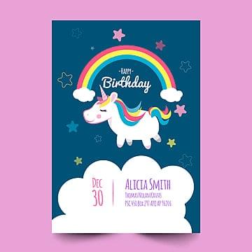Cartão de aniversário com cute Unicorn, Background, Vintage, AniversárioPNG e Vector