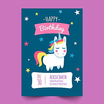 birthday card with cute unicorn and star, Date, Happy, Invitation PNG and PSD