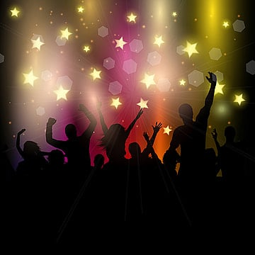 party audience on stars background, Party, People, Silhouette PNG and Vector