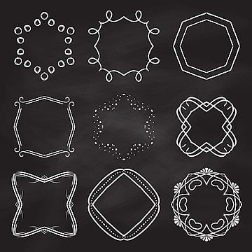 decorative frames on chalkboard background 2802, Vintage, Background, Love PNG and Vector
