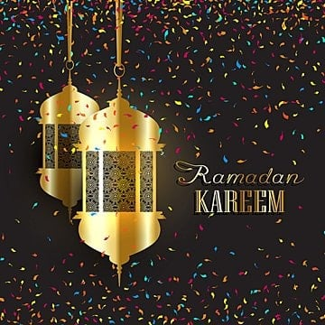 ramadan background with confetti, Ramadan Lantern, Ramadan Lamp, Celebration PNG and Vector