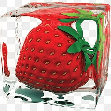 Strawberry in Ice Cube, Strawberry, Ice, Cube PNG and PSD