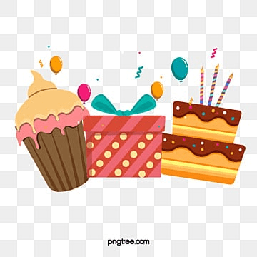 with cake and gift, , Birthday, Happy PNG and Vector