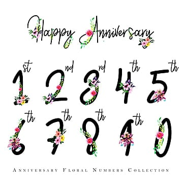 Watercolor Floral Happy Anniversary Numbers Color Painted PNG And Vector