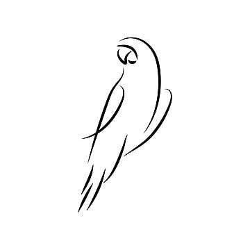 Parrot鳥單線條藝術向量, 鸚鵡, 美麗的, 飛行 PNG圖片素材和向量圖