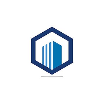 Hexagon Abstract Real Estate Building Logo Design Concept Vector Blue Png