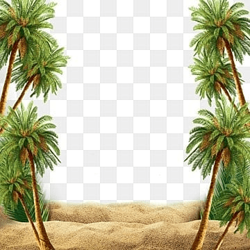 Summer beach scene with palm tree, Summer, Beach, Palm PNG and PSD