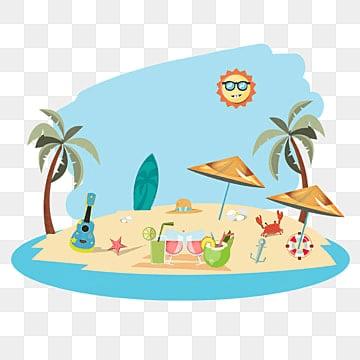 ชายหาดในช่วงฤดูร้อนกับฤดูร้อนภาพประกอบเวกเตอร์องค์ประกอบฤดูร้อน  ชายหาด  ร้อน รูปภาพ PNG และเวกเตอร์